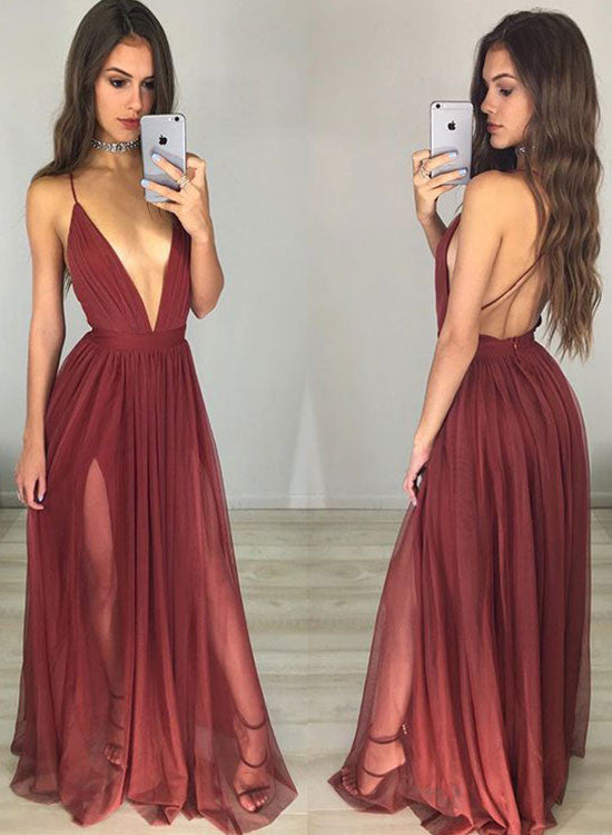 A line backless burgundy tulle long prom dress, burgundy evening dress