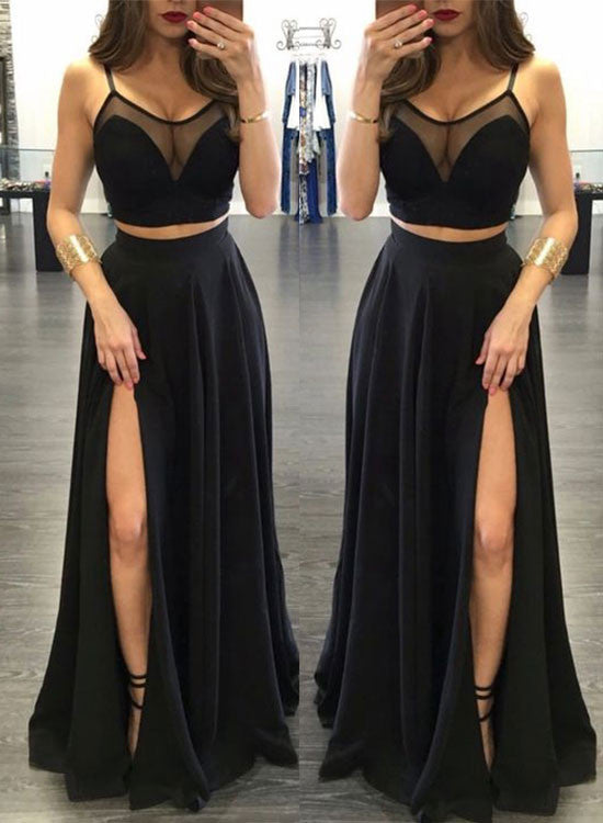 Black two pieces chiffon long prom dress, black evening dress
