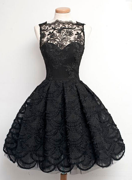 Black A line lace short prom dress, lace homecoming dress