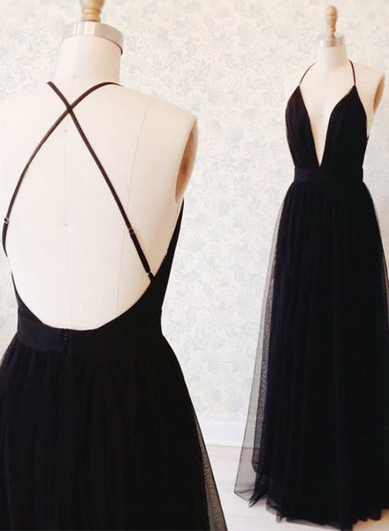 Black tulle v neck long prom dress, black evening dress