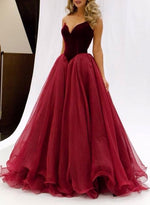 A line red strapless long prom dress, red evening dress