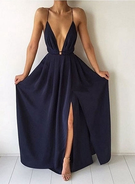 Simple A line dark blue v neck prom dress, evening dress