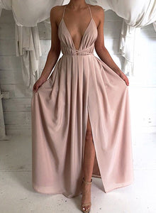 Simple A line pink v neck prom dress, pink evening dress