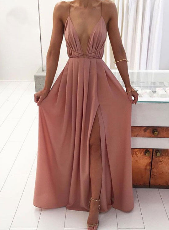 Simple A line v neck long prom dress, evening dress