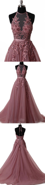 Elegant tulle lace long prom dress, lace evening dress