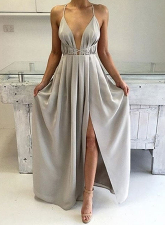 Simple A line v neck long prom dress, woman dress