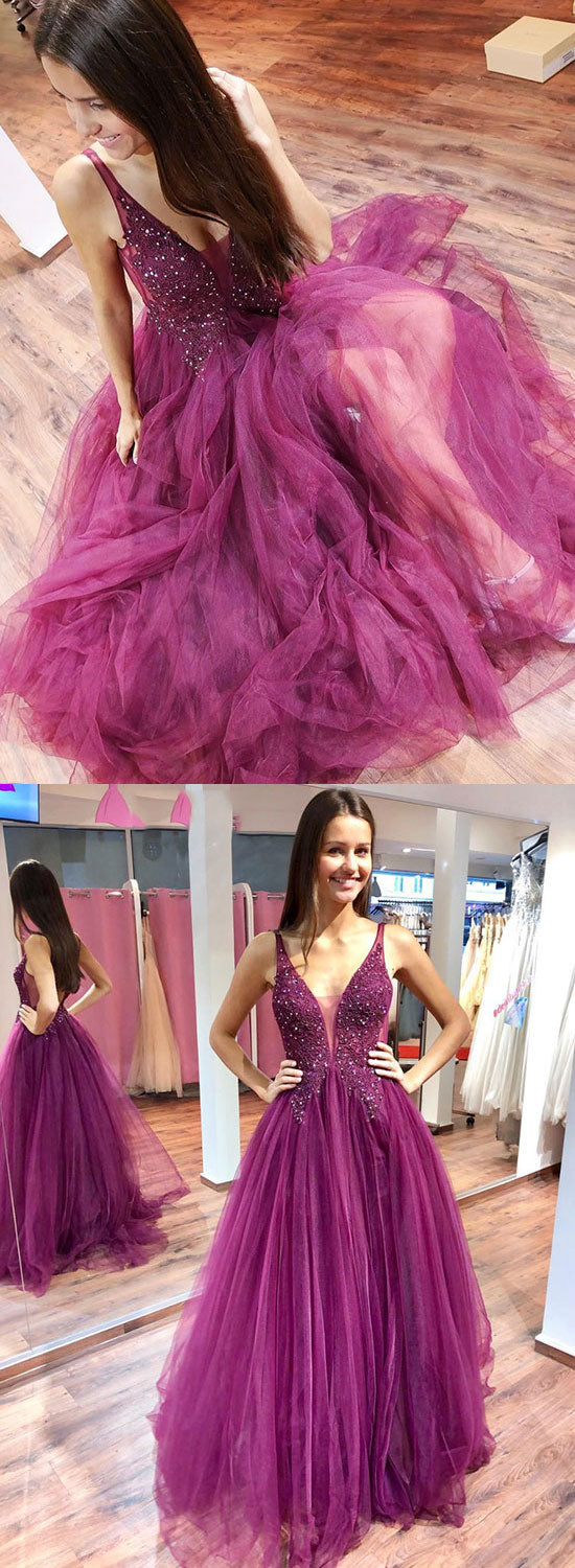Purple v neck tulle long prom dress, evening dress