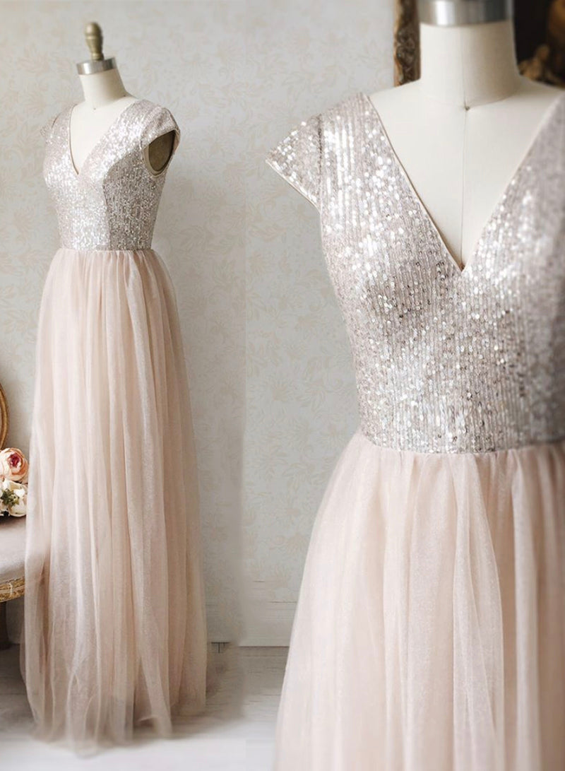 A line v neck tulle sequins long prom dress evening dress