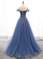 Blue tulle beads long ball gown dress formal dress