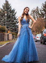 Blue v neck tulle lace prom dress formal dress