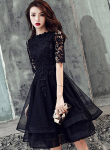 Black lace short prom dress 8th grade dress