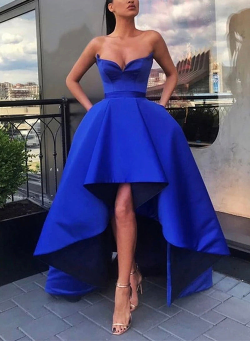 Blue satin high low prom dress homecoming dress