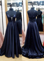Black satin long prom dress simple evening dress