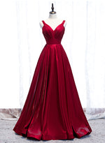 Shiny satin prom dress A line v neck evening dress