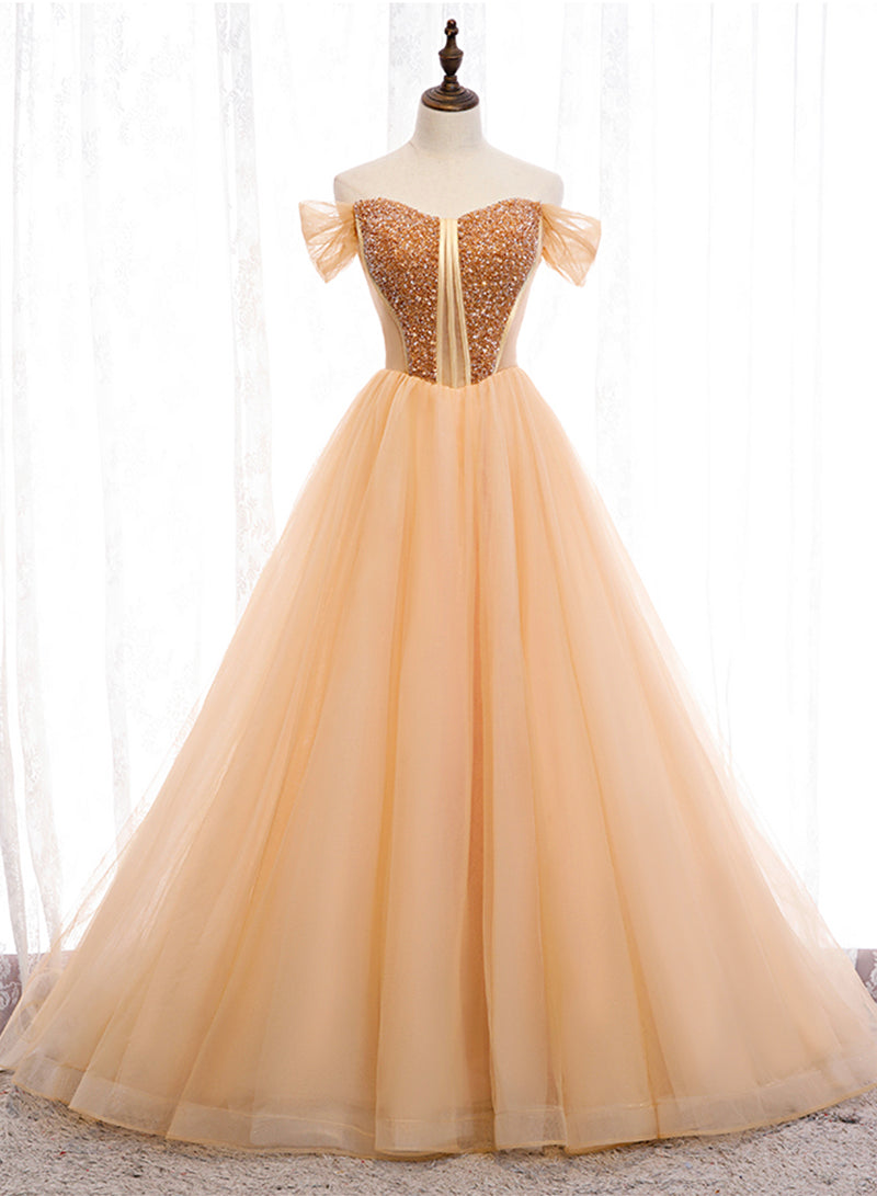 Gold tulle beads long ball gown dress formal dress
