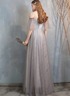 Stylish tulle long prom dress evening dress