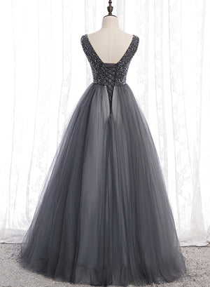 Gray v neck tulle beads prom dress evening dress