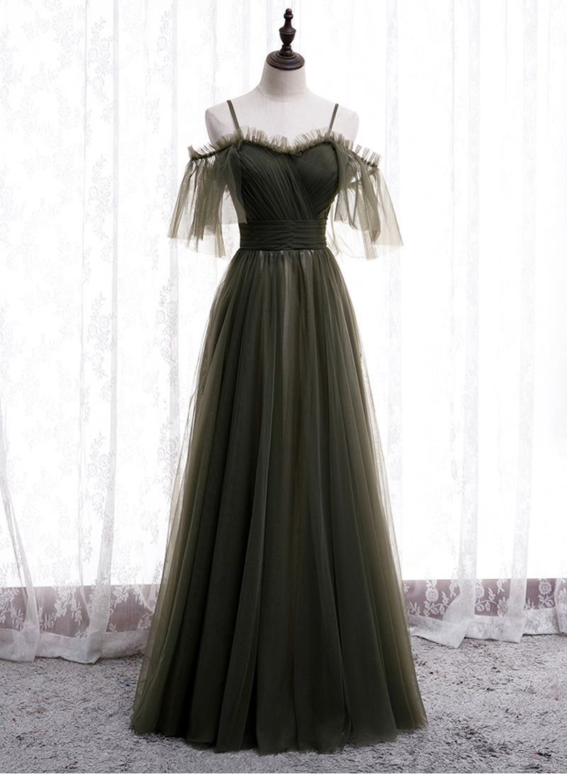 Simple tulle long prom dress bridesmaid dress