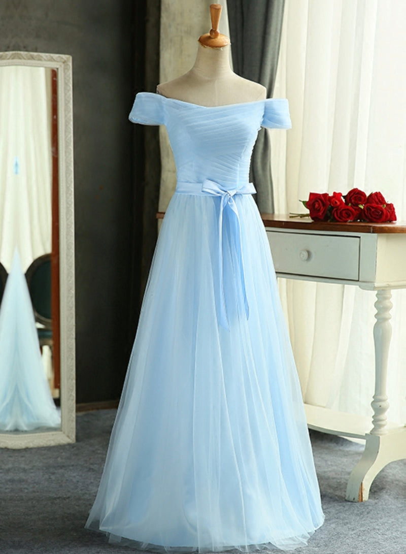 Blue tulle long prom dress bridesmaid dress