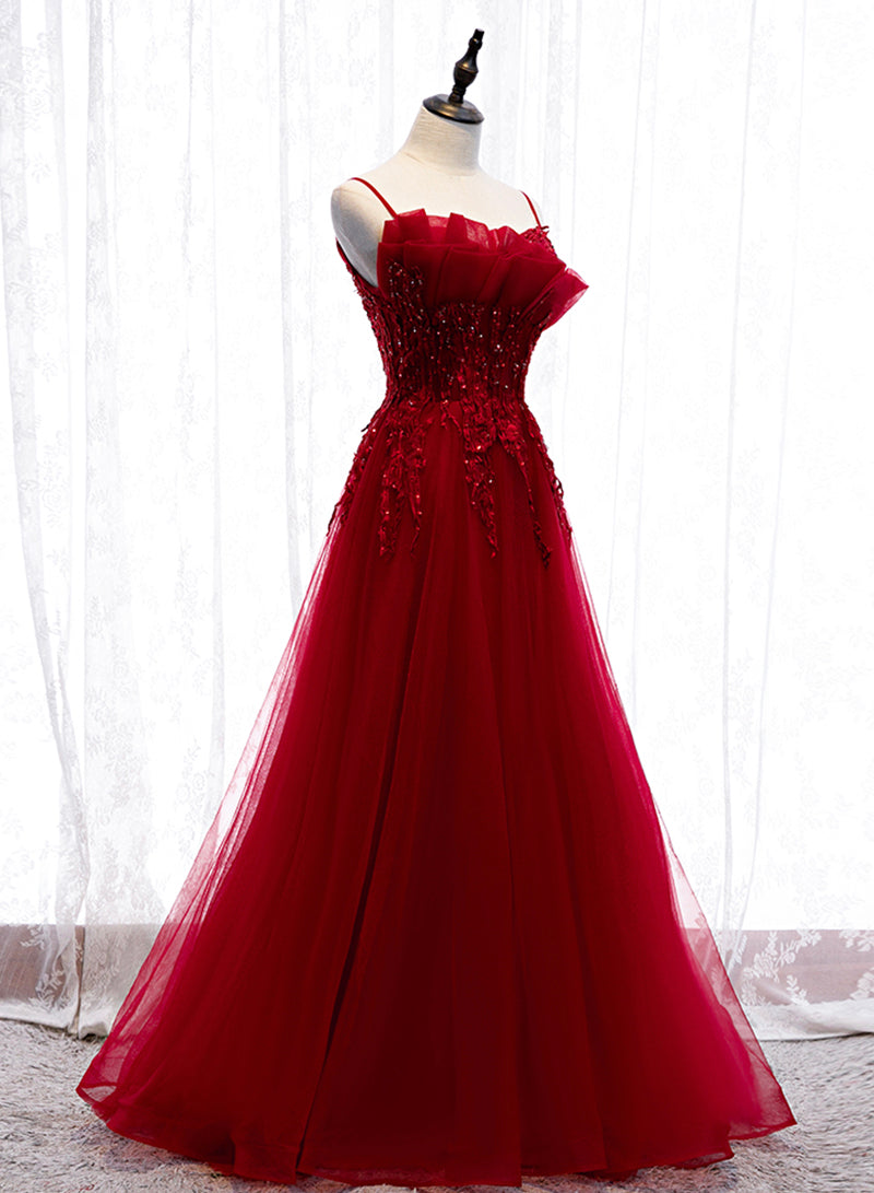 Burgundy tulle lace prom gown evening dress