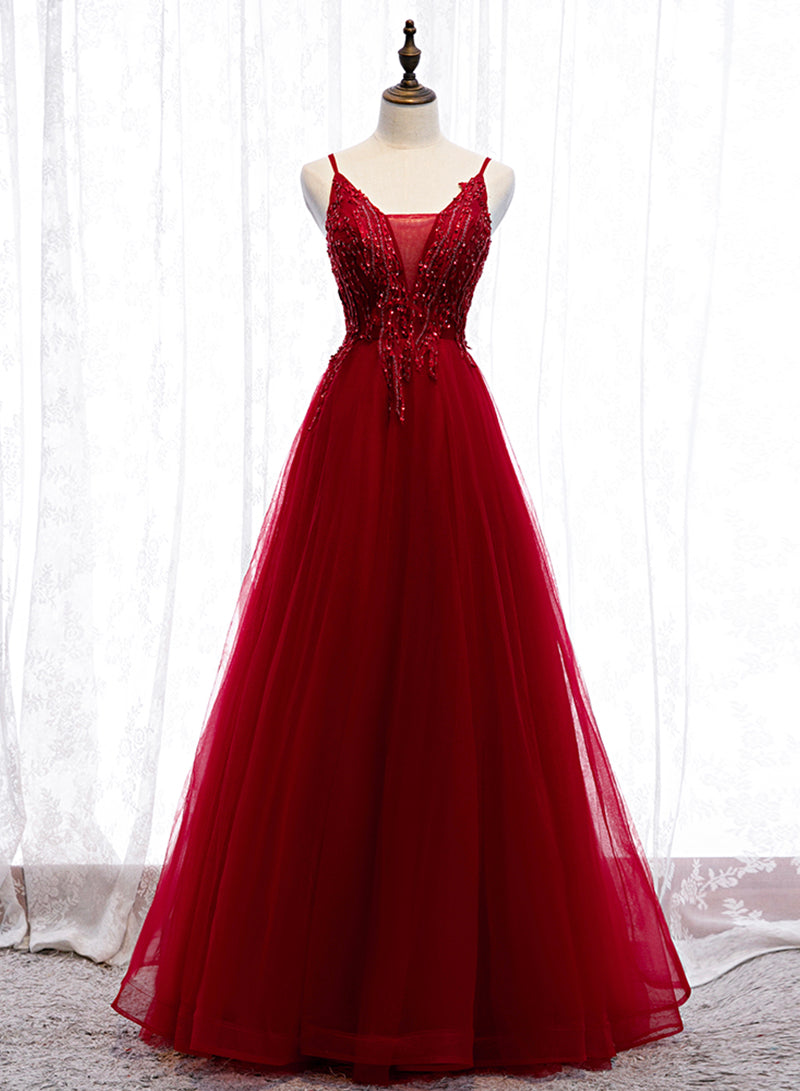 Burgundy v neck tulle lace prom dress evening dress