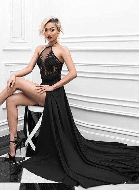 Black two pieces lace long prom dress, black evening dress