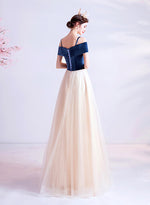 Blue velvet tulle long prom dress evening dress