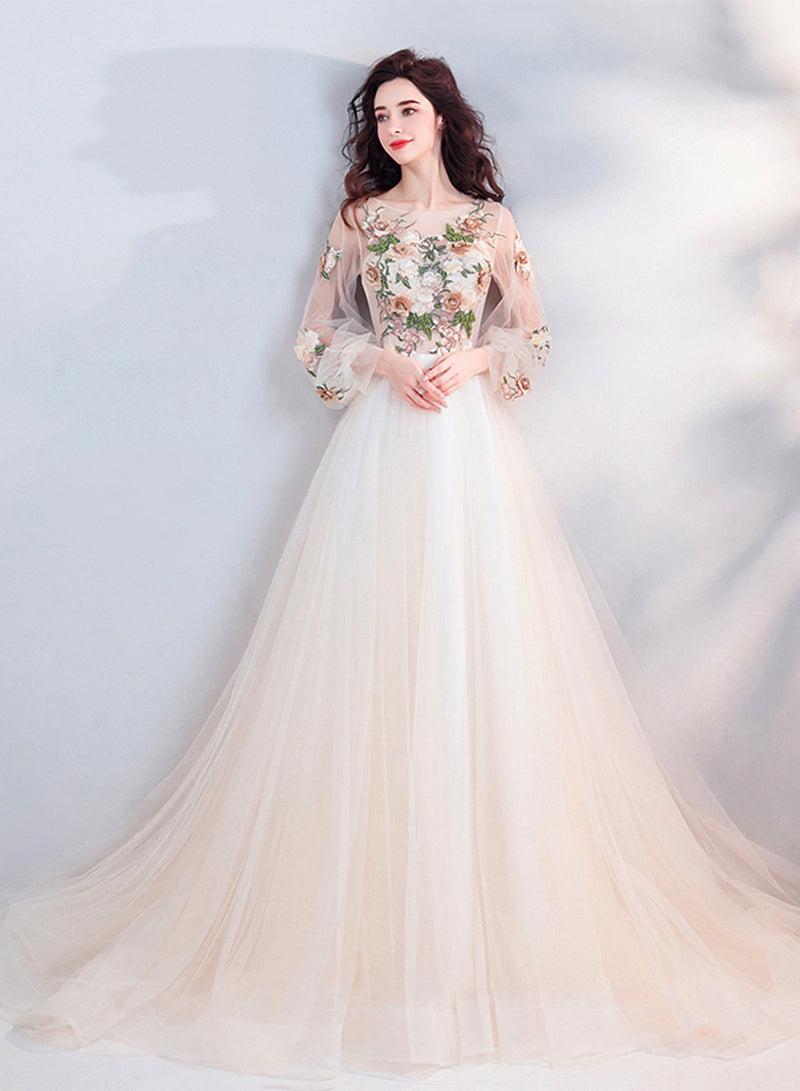 Champagne lace prom dress long sleeve evening dress