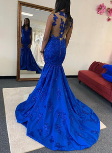 Mermaid blue lace long prom dress evening dress