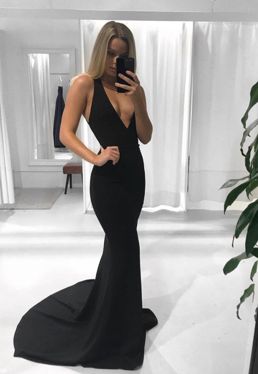 Mermaid v neck prom dress black evening dress