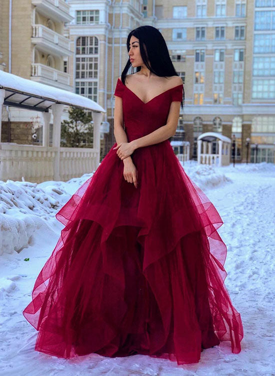 Burgundy v neck tulle long prom dress, evening dress