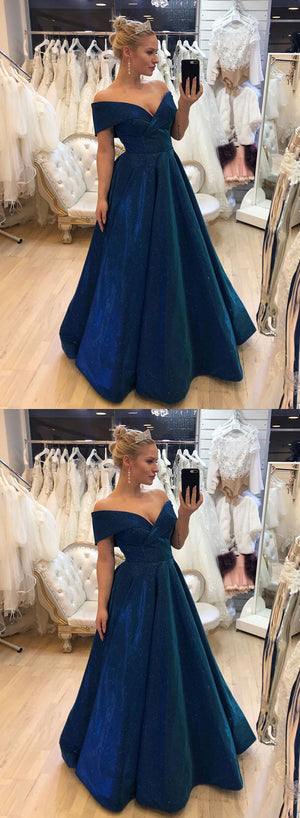 Blue v neck satin long prom dress, off shoulder evening dress