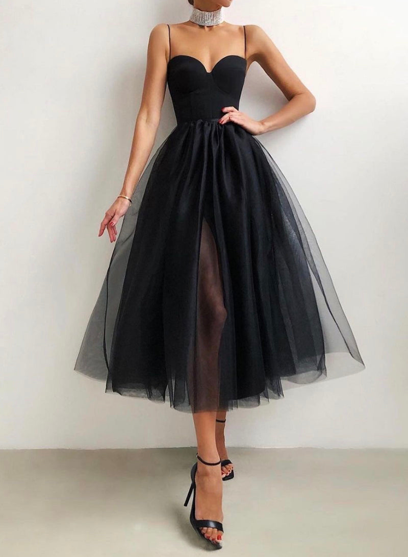 Black tulle short prom dress black evening dress