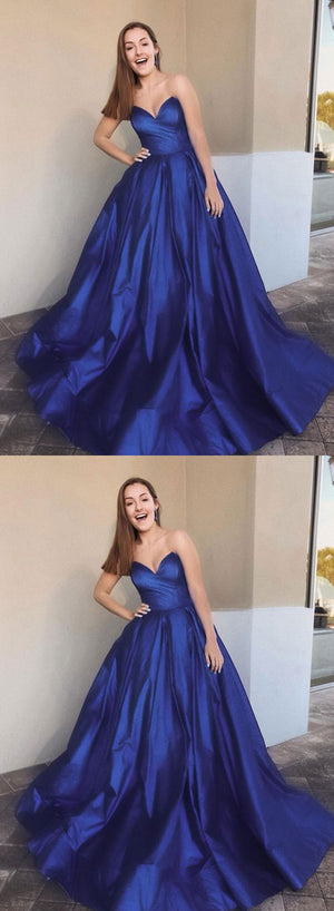 Blue sweetheart neck satin long prom dress, evening dress