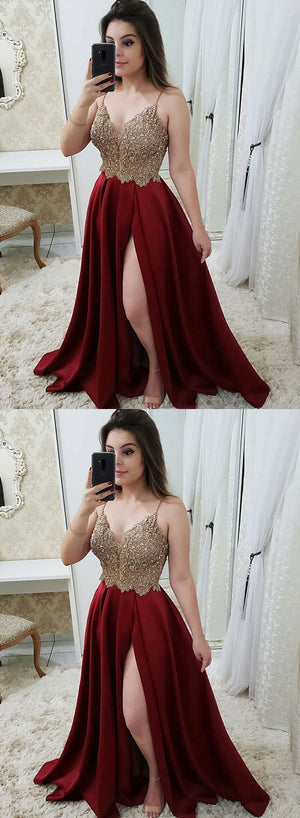 Burgundy v neck beaded long prom dress, burgundy evening dress