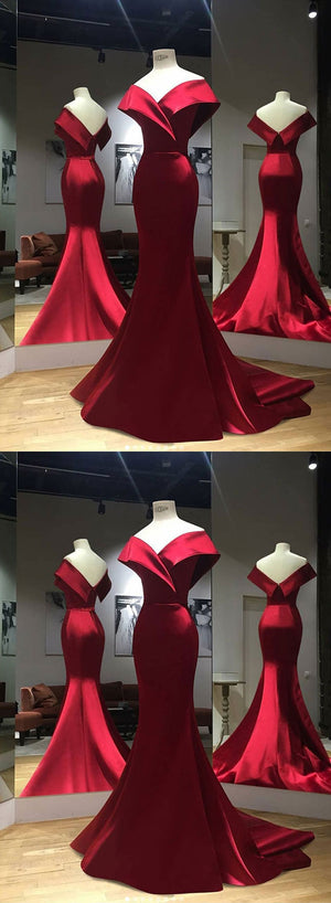 Burgundy v neck satin long prom dress, mermaid evening dress