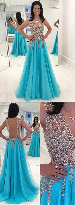 Blue v neck tulle beaded long prom dress, evening dress