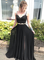 Black lace long prom dress, two pieces evening dress