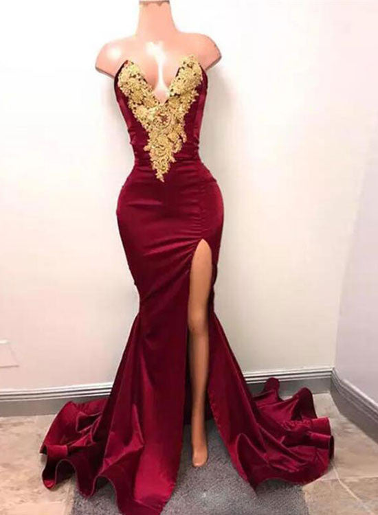 Burgundy mermaid lace long prom dress, burgundy evening dress
