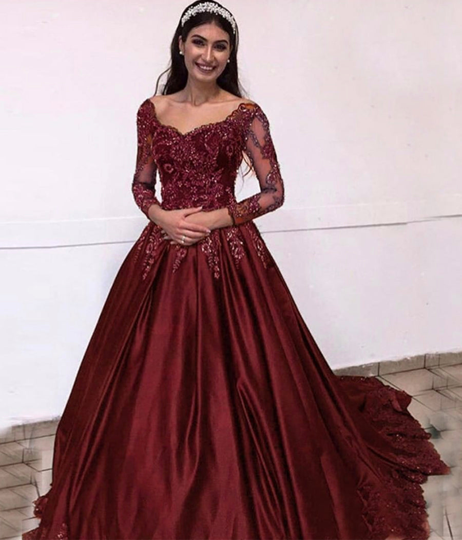 Burgundy lace long sleeve prom dress formal dress