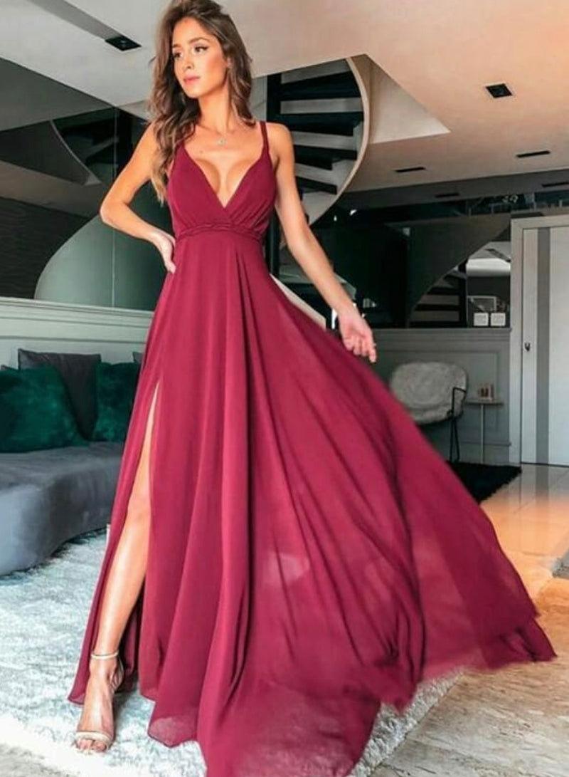 Burgundy chiffon  prom dress simple evening dress