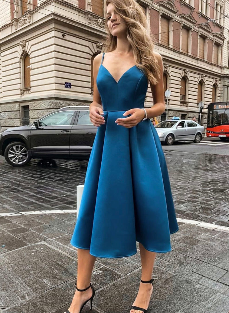 Blue v neck satin short prom dress homecoming dress
