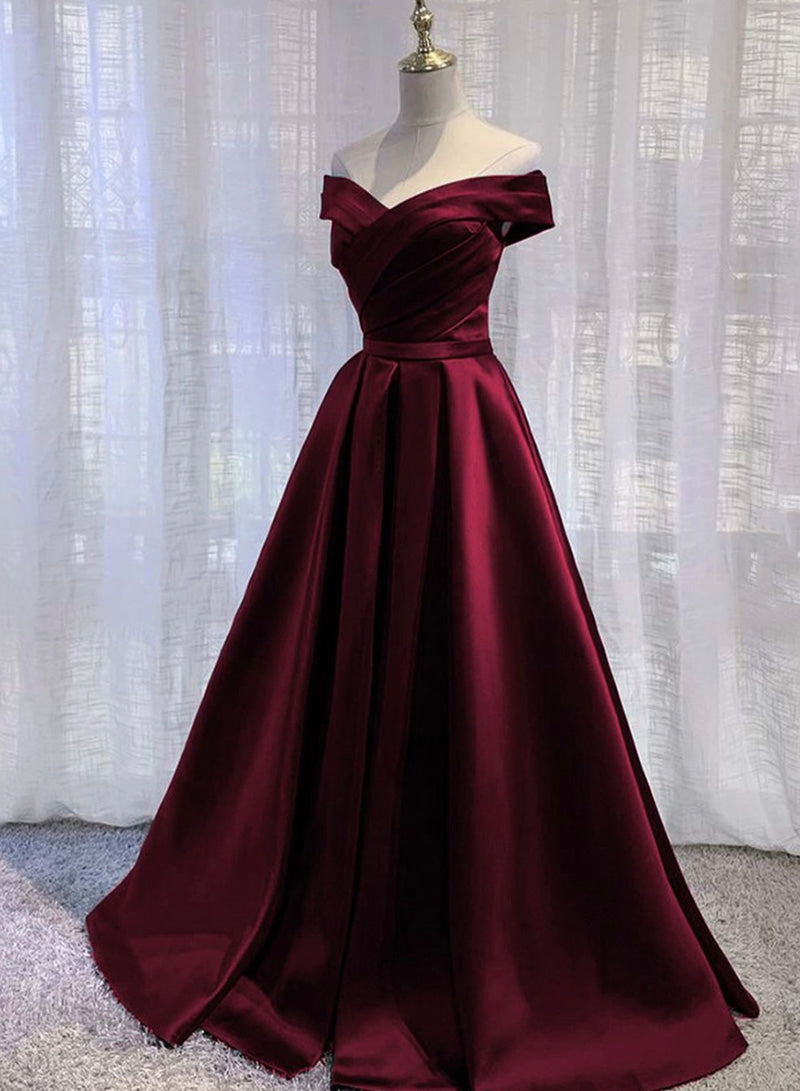 A line satin long prom dress simple evening dress