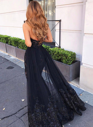 Black lace sequins long prom dress evening dress