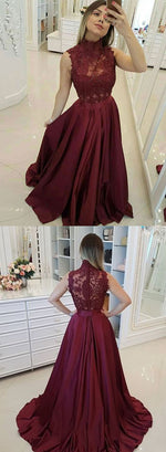 Burgundy round neck lace long prom dress, burgundy lace evening dress