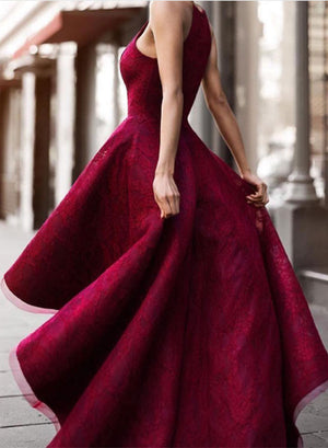 Burgundy high low lace prom dress, lace evening dress
