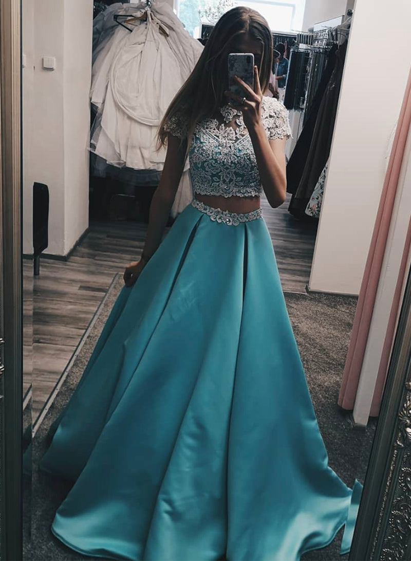 Blue two pieces lace long prom dress evening dress