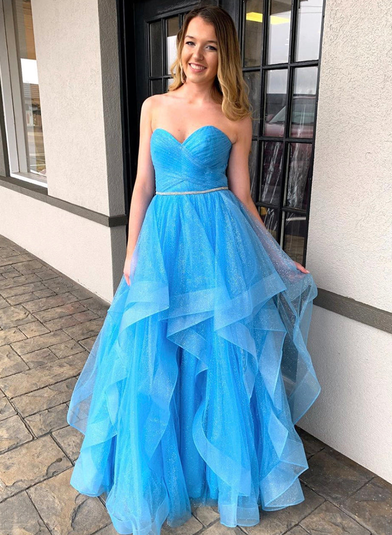Blue tulle long prom dress evening dress
