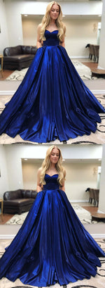 Royal blue sweetheart neck long prom dress, blue evening dress