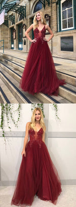 Burgundy v neck tulle lace long prom dress, evening dress